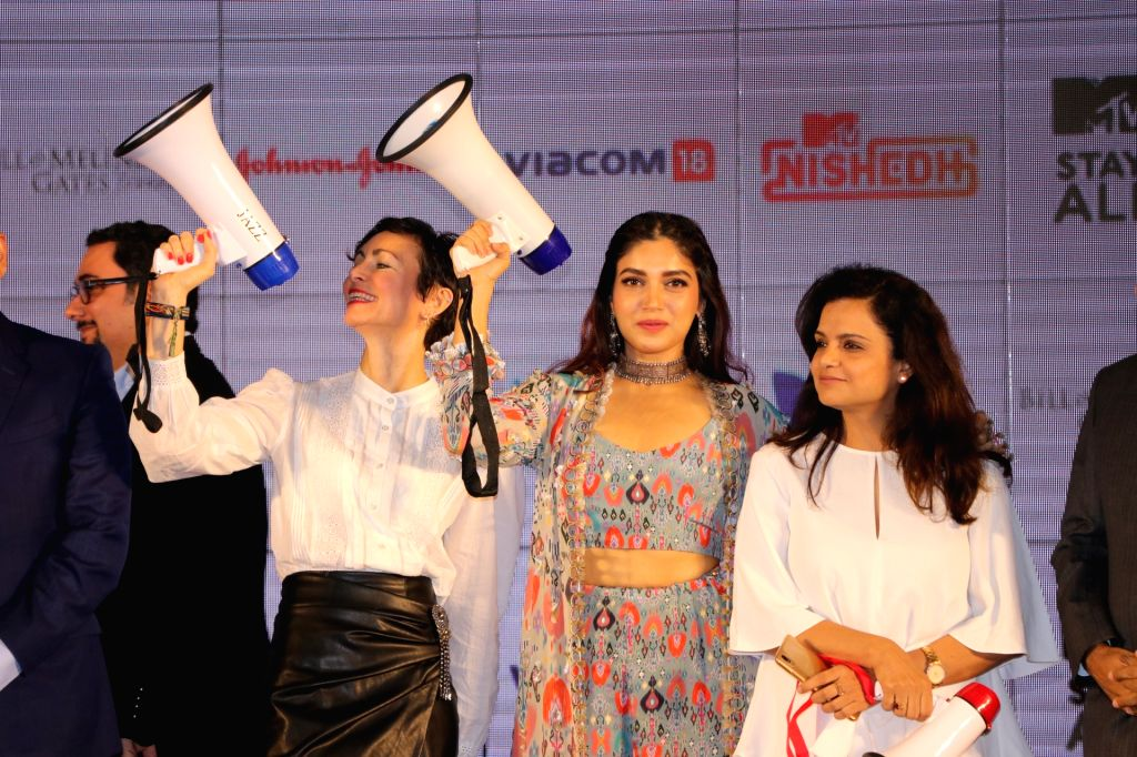 "Mumbai: Actress Bhumi Pednekar and MTV Staying Alive Foundation Executive Director Georgia Arnold at the launch of fictional series ""MTV Nished"" in Mumbai on Jan 16, 2020. (Photo: IANS) - Bhumi Pednekar"