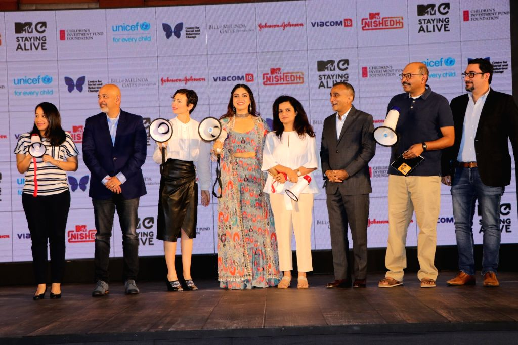 "Mumbai: Actress Bhumi Pednekar, Viacom 18 Group CEO and MD Sudhanshu Vats, MTV Staying Alive Foundation Executive Director Georgia Arnold and other dignitaries at the launch of fictional series ""MTV Nished"" in Mumbai on Jan 16, 2020. (Photo: IANS) - Bhumi Pednekar"