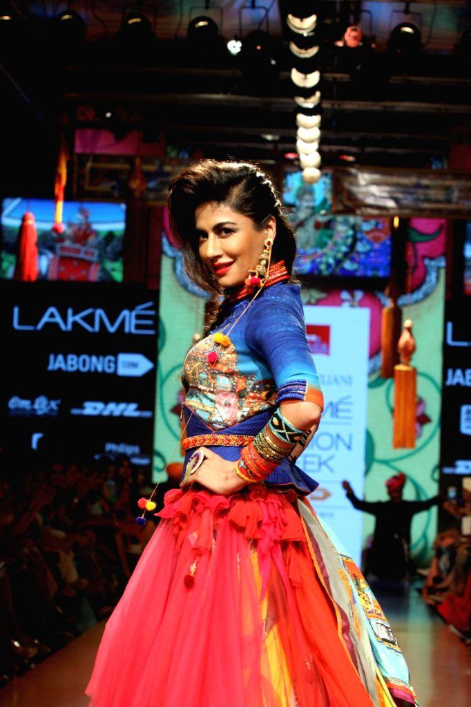 Actress Chitrangda Singh walks the ramp as showstopper at LFW Summer/Resort 2015 in Mumbai on March 22, 2015