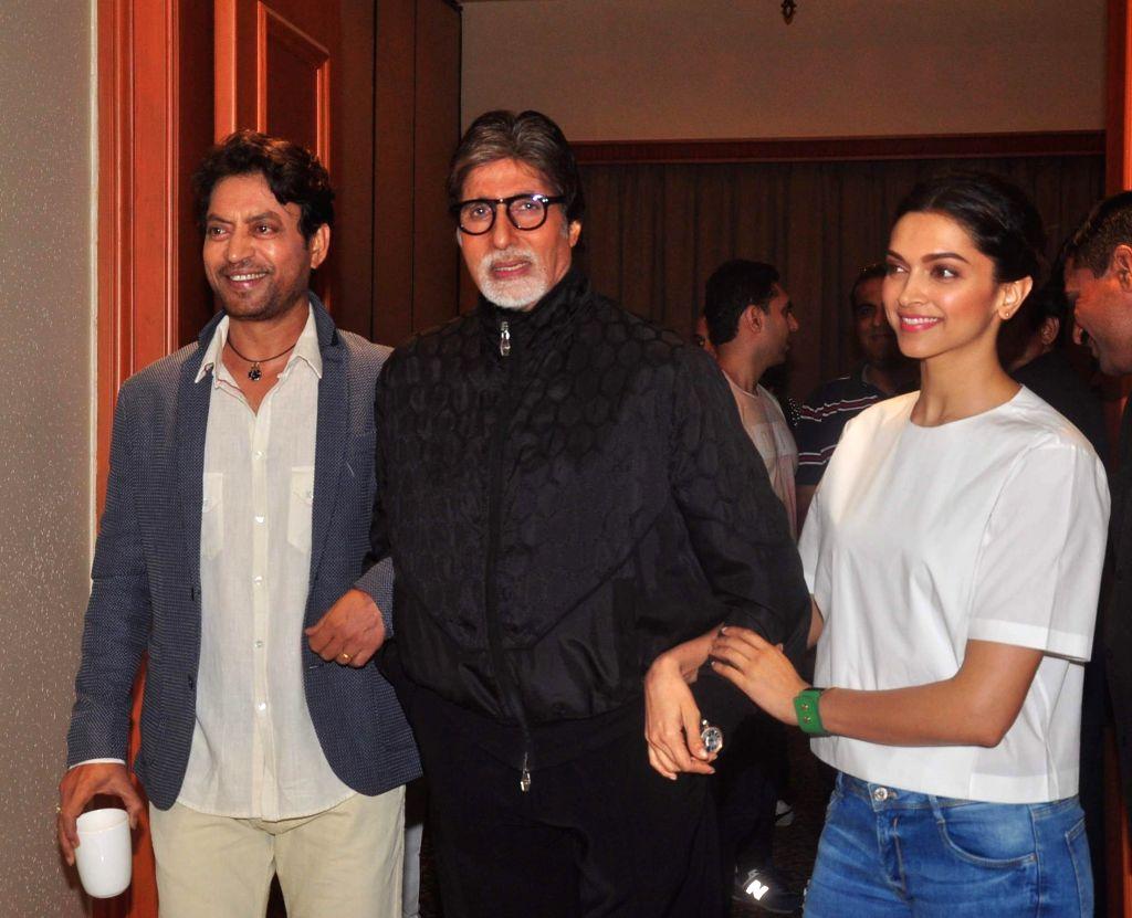 Actress Deepika Padukone, actor Amitabh Bachchan and Irrfan Khan during the media interaction of film Piku in Mumbai, on May 2, 2015. - Deepika Padukone, Amitabh Bachchan and Irrfan Khan