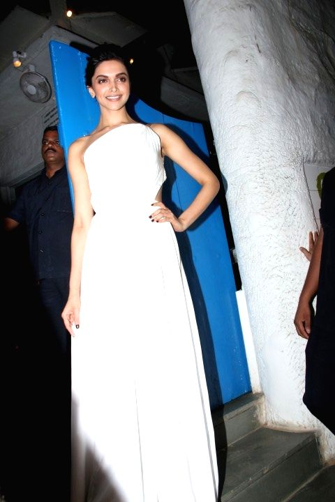 Actress Deepika Padukone at the party hosted by her for the succes of film Piku, in Mumbai, on May 18, 2015.