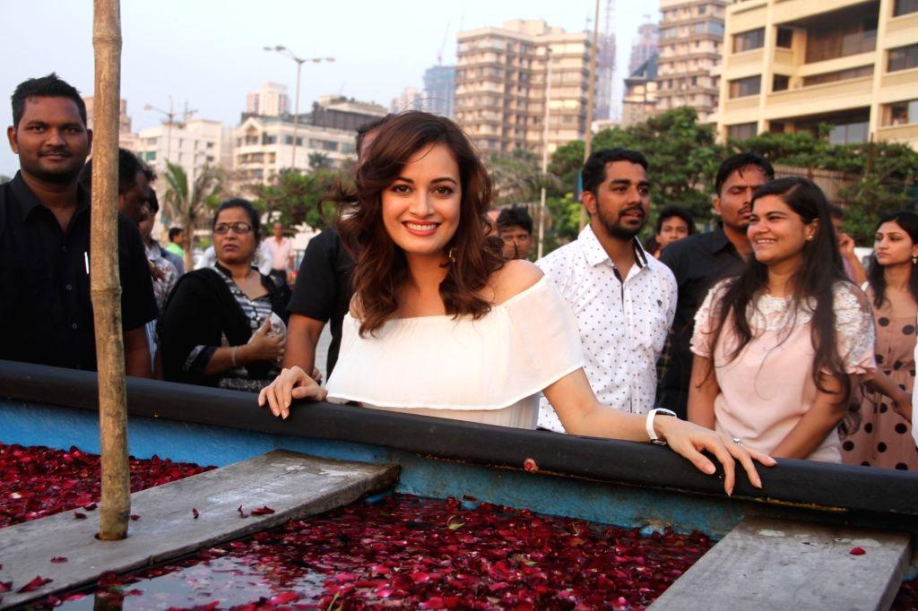 Mumbai: Actress Dia Mirza at the GoodHomes for Art Festival 2016, in Mumbai, on Oct 19, 2016. - Dia Mirza