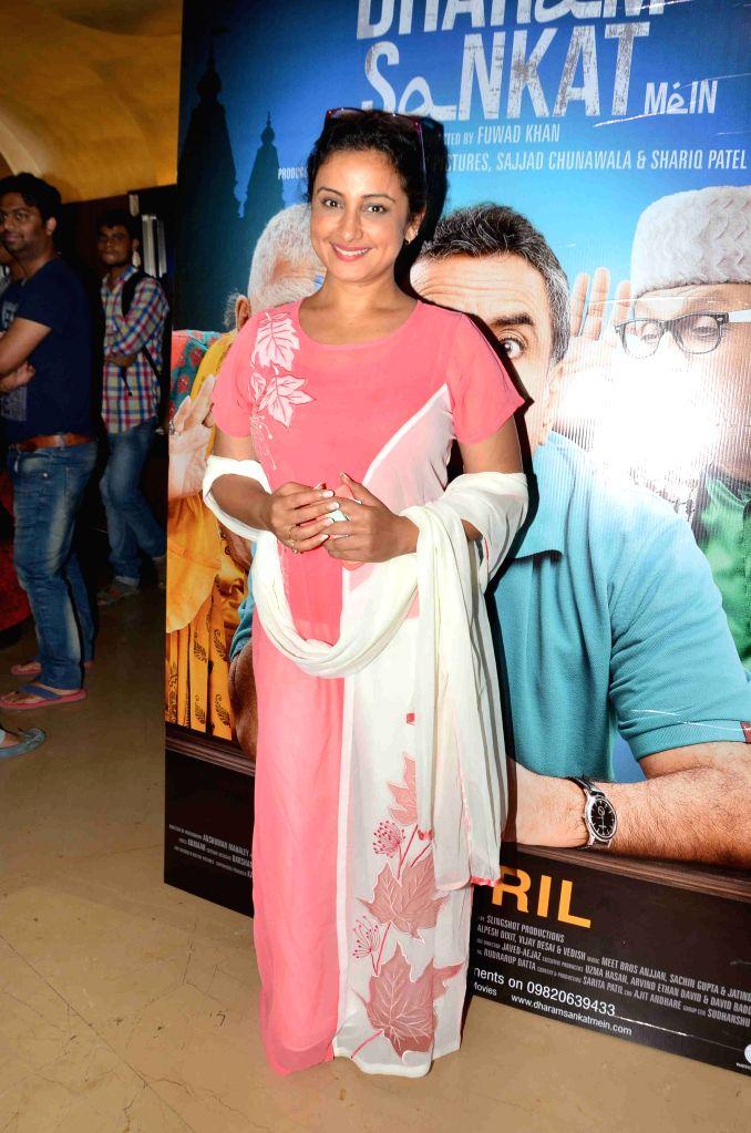 Actress Divya Dutta during the screening of film Dharam Sankat Mein in Mumbai on April 8, 2015. - Divya Dutta