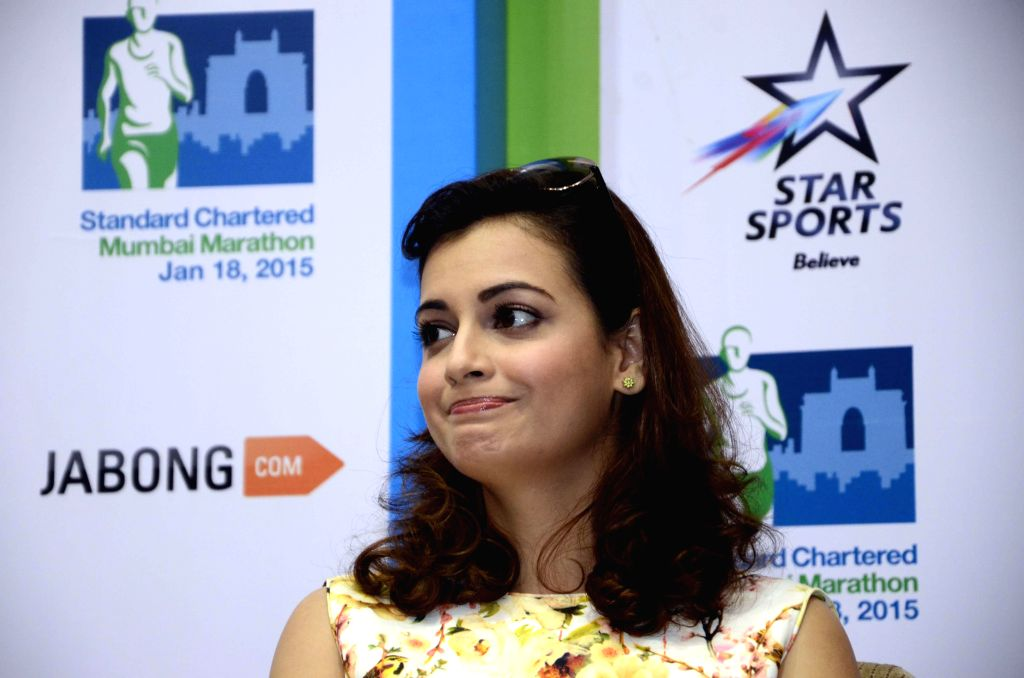 Actress Diya Mirza during a programme organised to announce Standard Chartered Mumbai Marathon in Mumbai, on Jan 12, 2015.