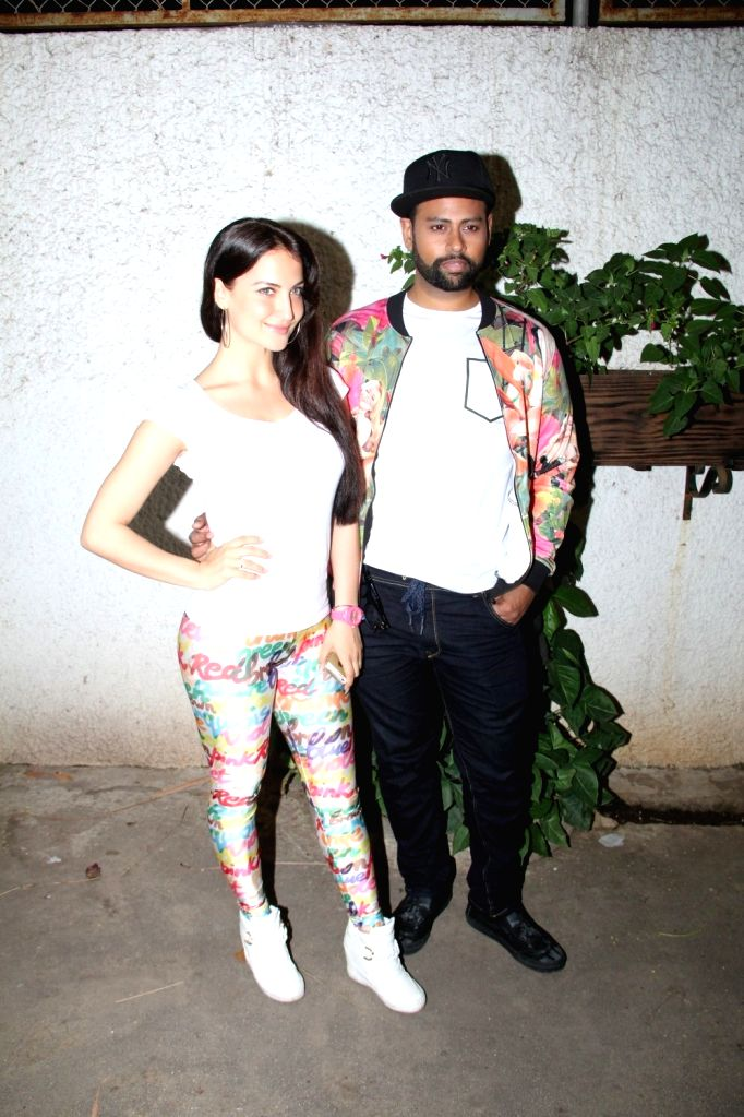 Actress Elli Avram and VJ Andy during the special screening of film Ek Paheli Leela in Mumbai on April 9, 2015. - Elli Avram