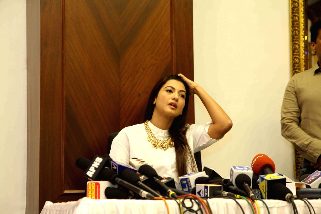 Actress Gauhar Khan gives her statement on the physical attack and molestation attempt on her on India's RAW star sets in Mumbai on Dec 2, 2014.