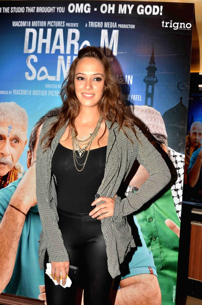 Actress Hazel Keech during the screening of film Dharam Sankat Mein in Mumbai on April 8, 2015. - Hazel Keech