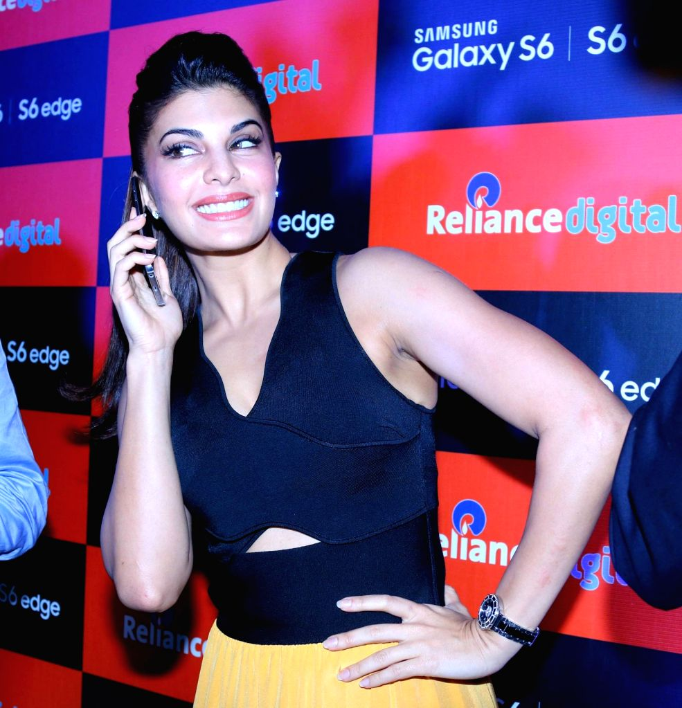 Actress Jacqueline Fernandez during the launch of Samsung Mobile S6 and S6 Edge in Mumbai on April 10, 2015.