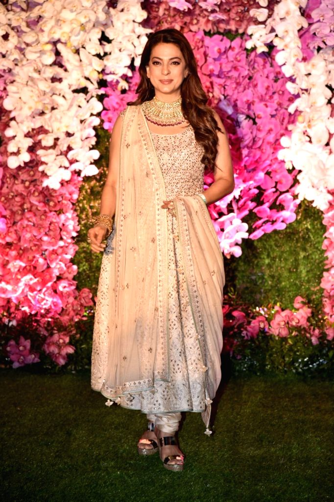 Mumbai: Actress Juhi Chawla at the wedding reception of Akash Ambani and Shloka Mehta in Mumbai on March 10, 2019. (Photo: IANS) - Juhi Chawla, Akash Ambani and Shloka Mehta
