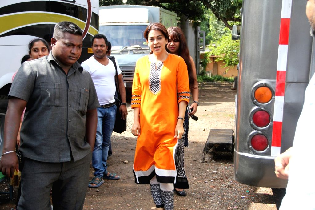 Actress Juhi Chawla during on the location of her upcoming film `Chalk N Duster` in Mumbai, on June 17, 2015. - Juhi Chawla