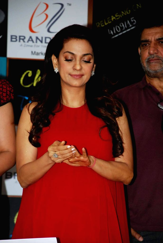 Actress Juhi Chawla during the Mahurat and on location of film Chalk and Duster, in Mumbai on April 12th, 2015. - Juhi Chawla