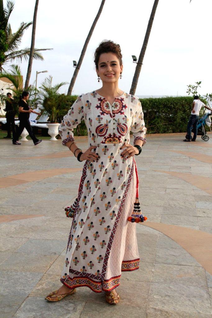 Actress Kangana Ranaut during a promotion for her upcoming movie `Tanu Weds Manu Returns` in Mumbai on, April 29, 2015. - Kangana Ranaut