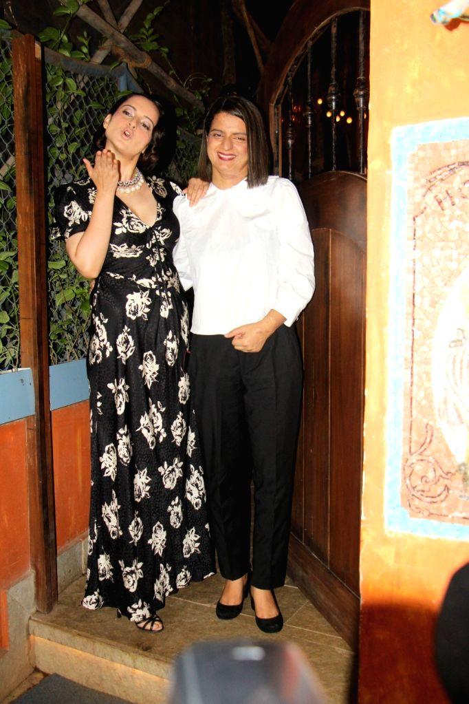 "Mumbai: Actress Kangana Ranaut with her sister Rangoli Chandel at the success party of her film ""Judgementall Hai Kya"" in Mumbai on Aug 13, 2019. (Photo: IANS) - Kangana Ranaut"