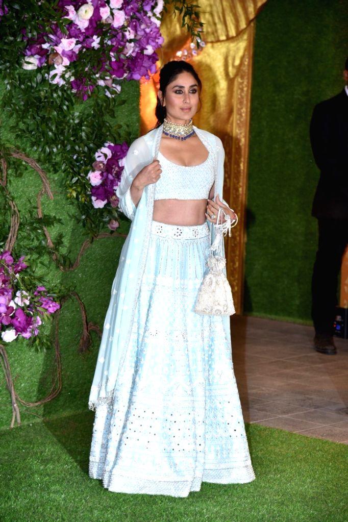 Mumbai: Actress Kareena Kapoor at the wedding festivities of Akash Ambani and Shloka Mehta in Mumbai on March 9, 2019. (Photo: IANS) - Kareena Kapoor, Akash Ambani and Shloka Mehta
