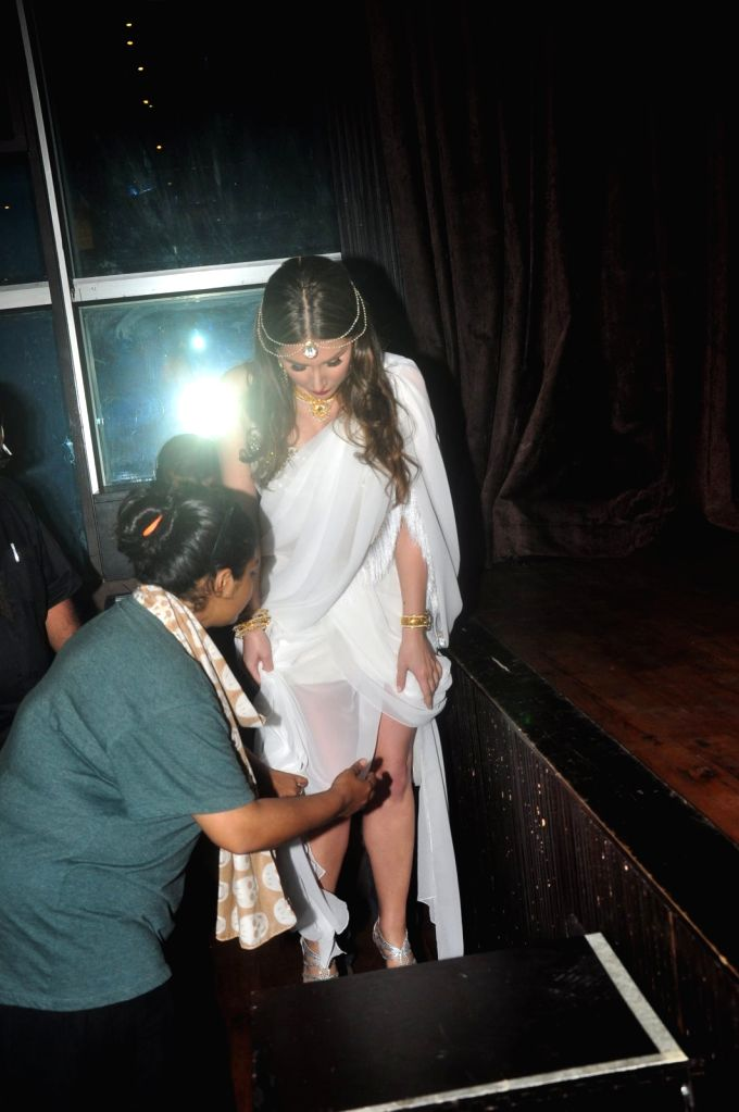 Actress Lucy Pinder during a media interaction of film Waarrior Savitri in Mumbai on March 24, 2015. - Lucy Pinder