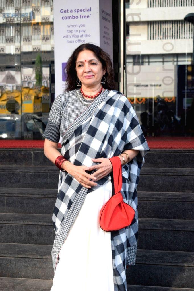 :Mumbai: Actress Neena Gupta seen outside a Mumbai cinema hall on Oct 19, 2018. (Photo: IANS).