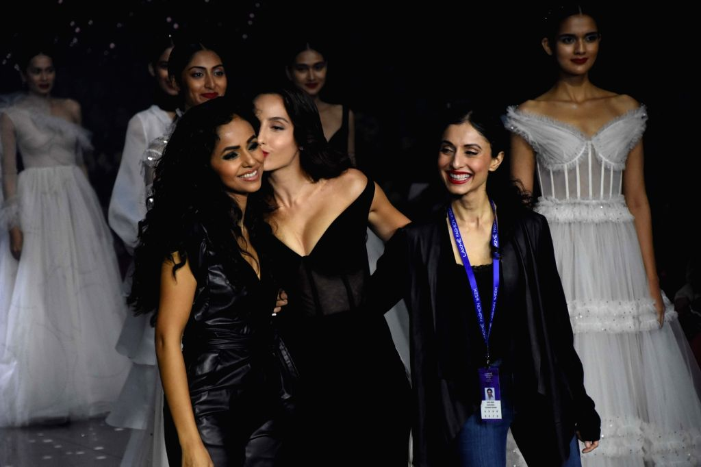 Mumbai: Actress Nora Fatehi showcases the creation of Fashion designer Gaurangi & Nainika at the Lakme Fashion Week Summer/Resort 2020, in Mumbai on Feb 14, 2020. (Photo: IANS) - Nora Fatehi
