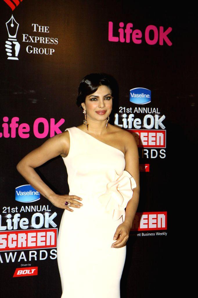 Actress Priyanka Chopra during the 21st Annual Life OK Screen Awards in Mumbai on Jan. 14, 2015. - Priyanka Chopra