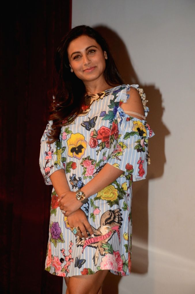 ": Mumbai: Actress Rani Mukerji during a programme organised to promote her film ""Hichki"" in Mumbai on April 4, 2018. (Photo: IANS)."