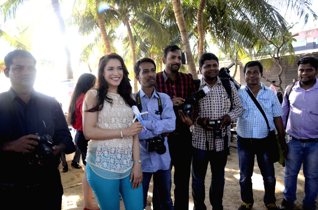 Actress Rashmi Nigam during a programme organised to promote Swimathon 2015 scheduled to be held in Goa on 22nd February 2015; in Mumbai on Feb 17, 2015.