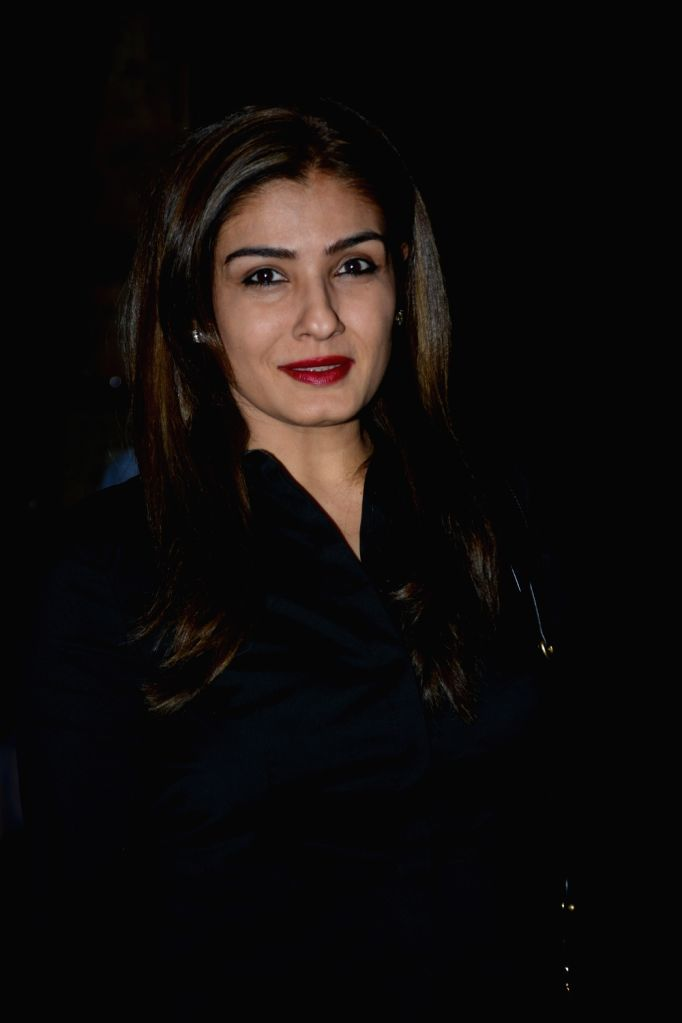 Mumbai: Actress Raveena Tandon spotted at Palli Village Cafe Bandra in Mumbai on Feb 8, 2019. (Photo: IANS) - Raveena Tandon