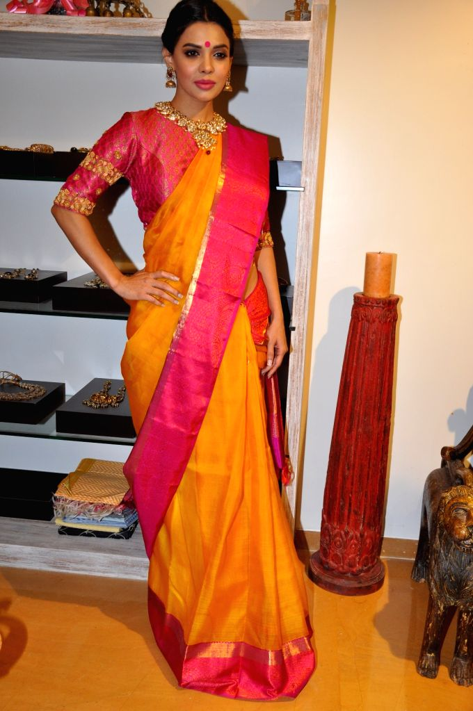 Actress Sara Loren during launch of vedaa contemporary weaves store in Mumbai on April 1, 2015.