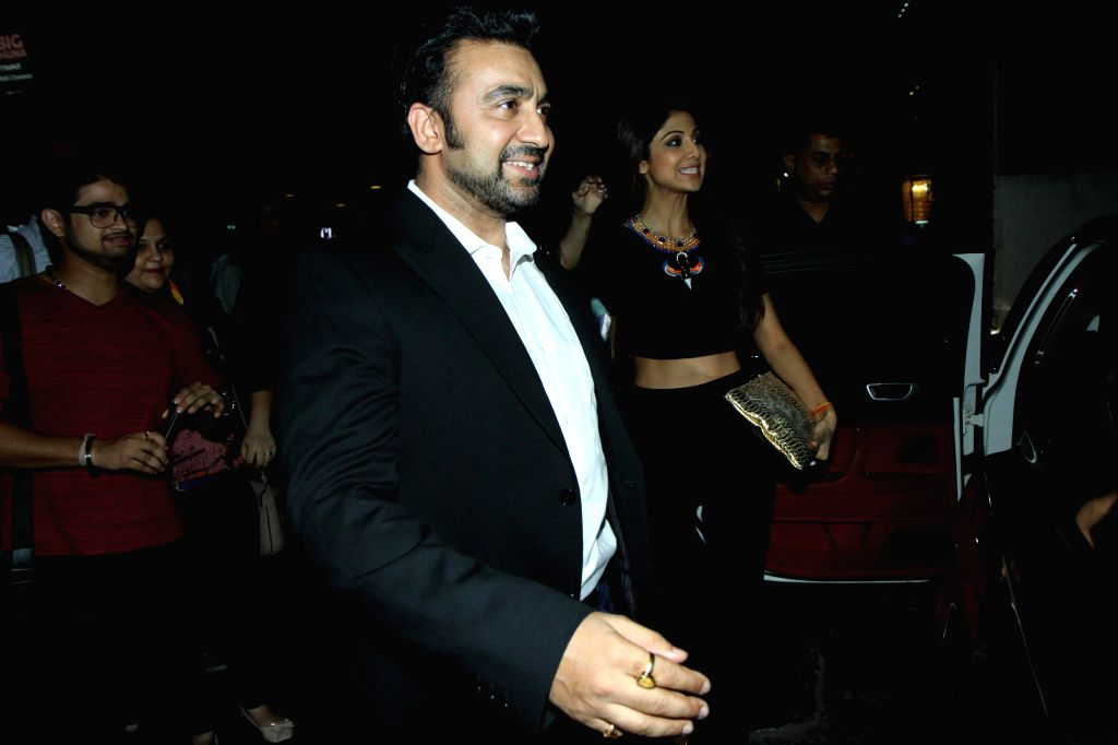 Actress Shilpa Shetty with her husband Raj Kundra during the premier show of the film Fast & Furious  in Mumbai on April 1, 2015. - Shilpa Shetty and Raj Kundra