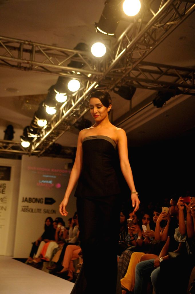 Mumbai Actress Shraddha Kapoor walks the ramp during the Absolute Sculpt show at the Lakme Fashion Week Summer Resort 2015 in Mumbai on 18th March 2015 - Shraddha Kapoor
