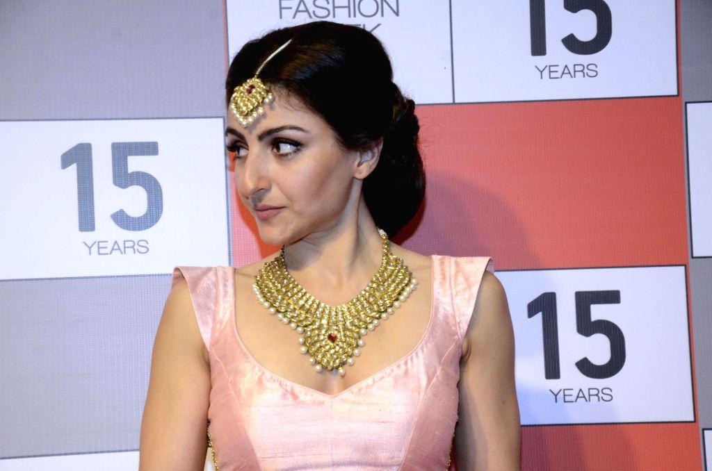 Mumbai: Actress Soha Ali Khan during a press conference regarding 15 years of Lakme Fashion Week, in Mumbai on Aug 3, 2015. - Soha Ali Khan