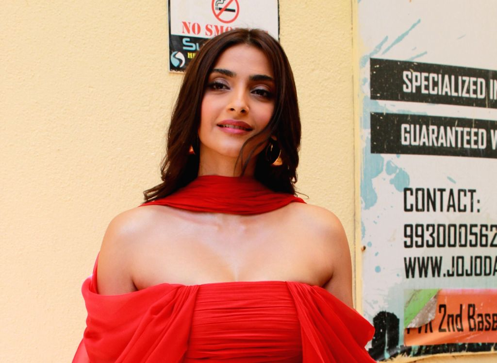 "Mumbai: Actress Sonam Kapoor at the trailer launch of her upcoming film ""The Zoya Factor"" in Mumbai on Aug 29, 2019. (Photo: IANS) - Sonam Kapoor"