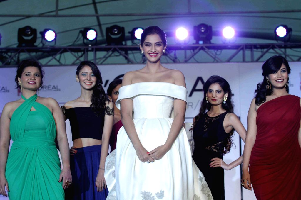 Actress Sonam Kapoor during the unveiling of L`Oreal Paris`s new Cannes collection in Mumbai, on April 25, 2015. - Sonam Kapoor