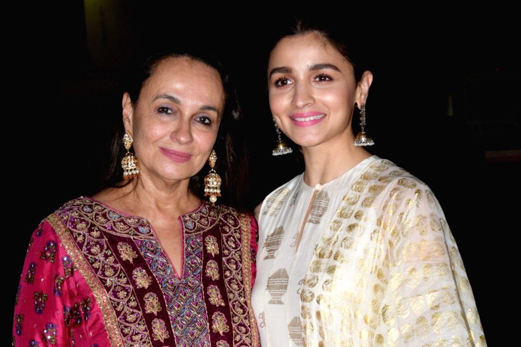 "Mumbai:Actress Soni Razdan with her daughter and actress Alia Bhatt at the screening of her upcoming film ""No Fathers in Kashmir"" in Mumbai, on April 3, 2019. (Photo: IANS) - Soni Razdan"