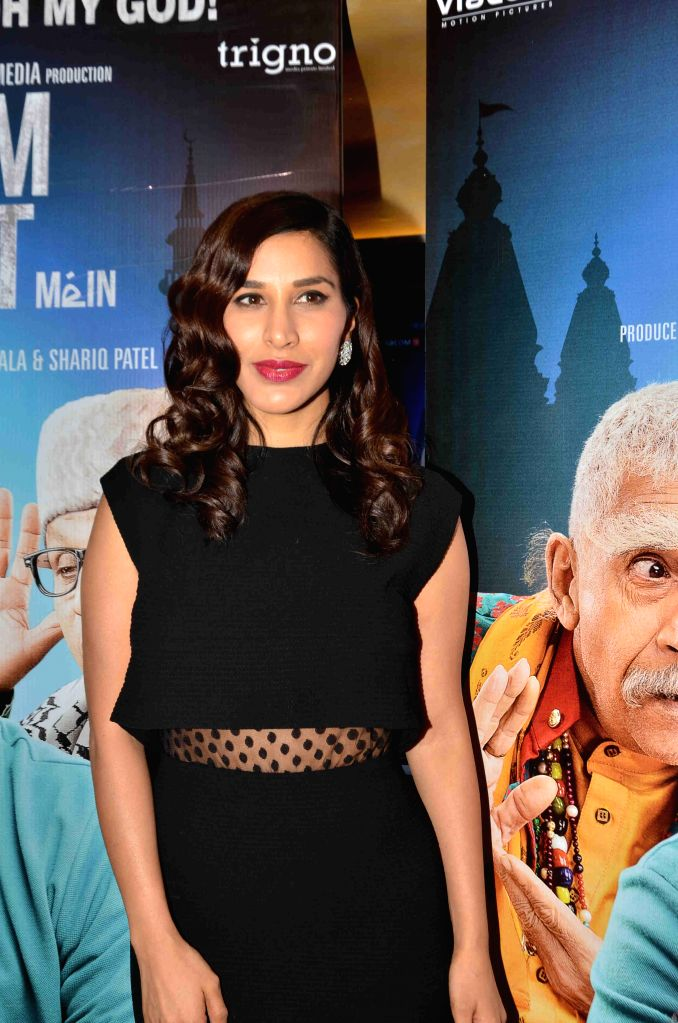 Actress Sophie Choudry during the screening of film Dharam Sankat Mein in Mumbai on April 8, 2015. - Sophie Choudry