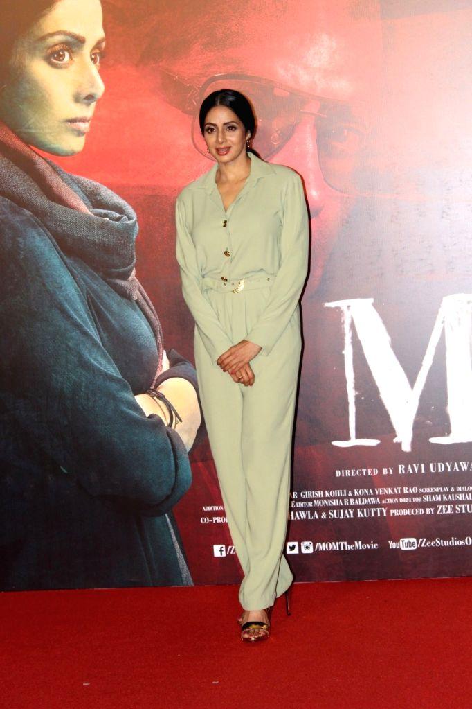 "Mumbai: Actress Sridevi during the trailer launch of her upcoming film ""Mom"" in Mumbai, on June 3, 2017. (Photo: IANS) - Sridevi"
