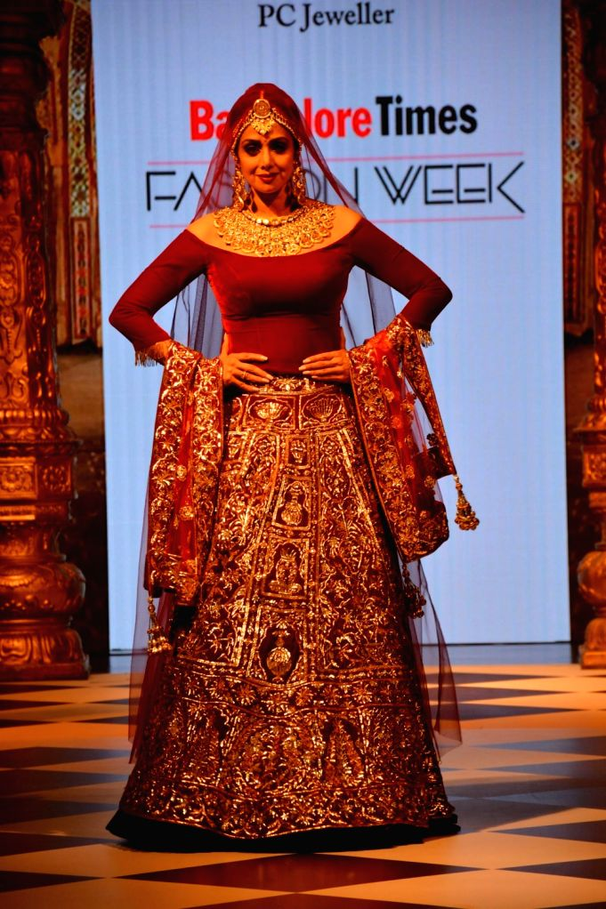 "Mumbai: Actress Sridevi walk the ramp for PC Jeweller at the first edition of ""Bangalore Times Fashion Week"" in Mumbai on Oct 7, 2017. - Sridevi"