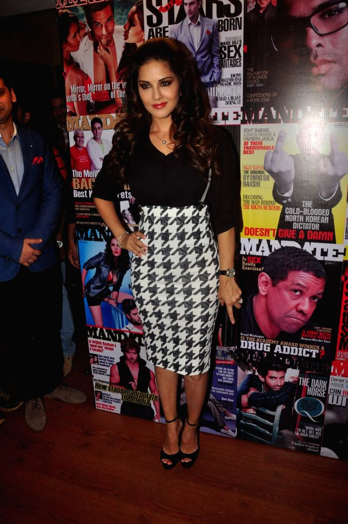 Actress Sunny Leone during the cover launch of Mandate magazine's January issue in Mumbai on Jan 16, 2015. - Sunny Leone