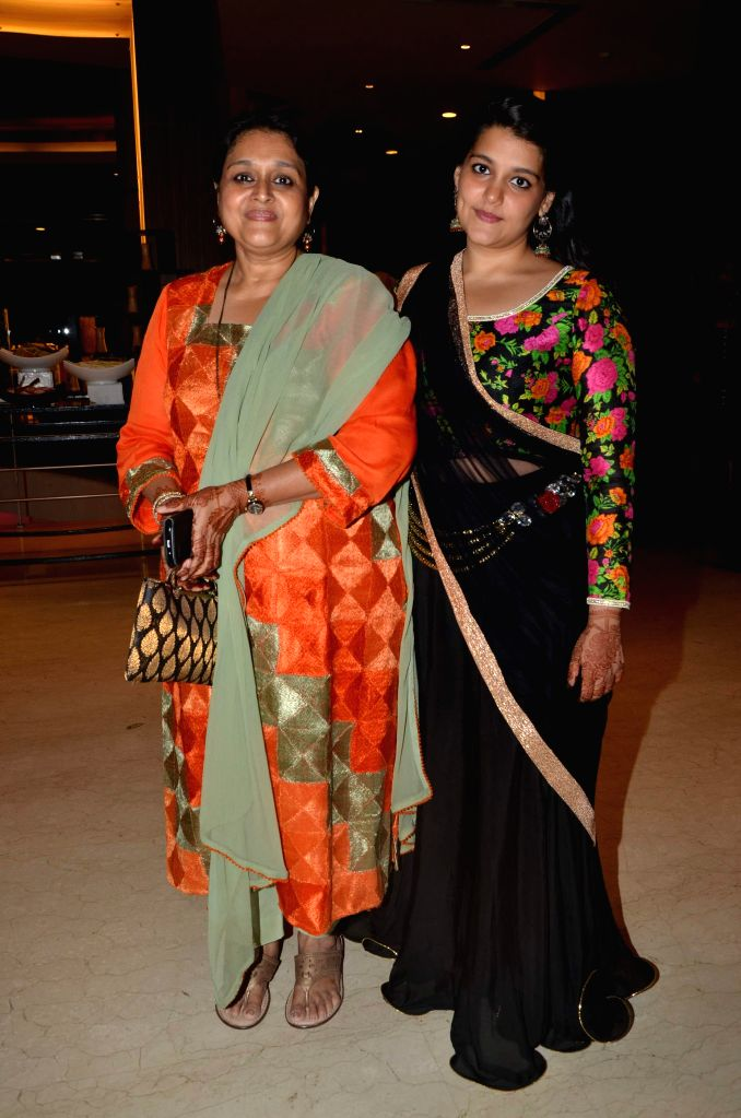 Actress Supriya Pathak with her daughter during Karan Patel and Ankita Bhargava`s engagement and sangeet ceremony at the Novotel Hotel in Juhu, Mumbai on 1st May, 2015. - Supriya Pathak