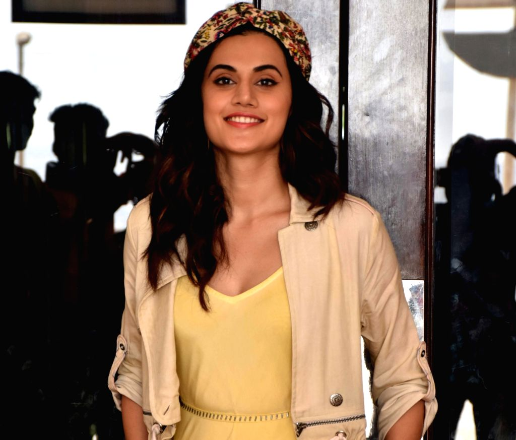 """Mumbai: Actress Taapsee Pannu during the promotions of her upcoming film """"Game Over"""" in Mumbai, on May 31, 2019. (Photo: IANS) - Taapsee Pannu"""