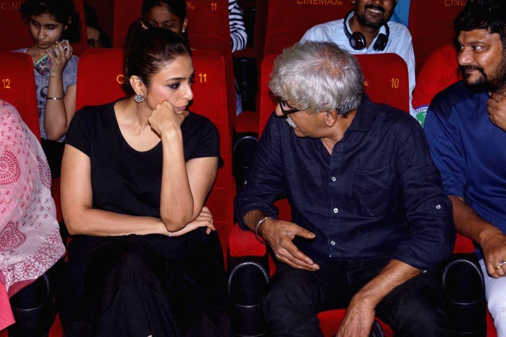 "Mumbai: Actress Tabu and director Sriram Raghavan at the special screening of film ""Andhadhun"" in Mumbai on Oct 30, 2018. (Photo: IANS) - Tabu"