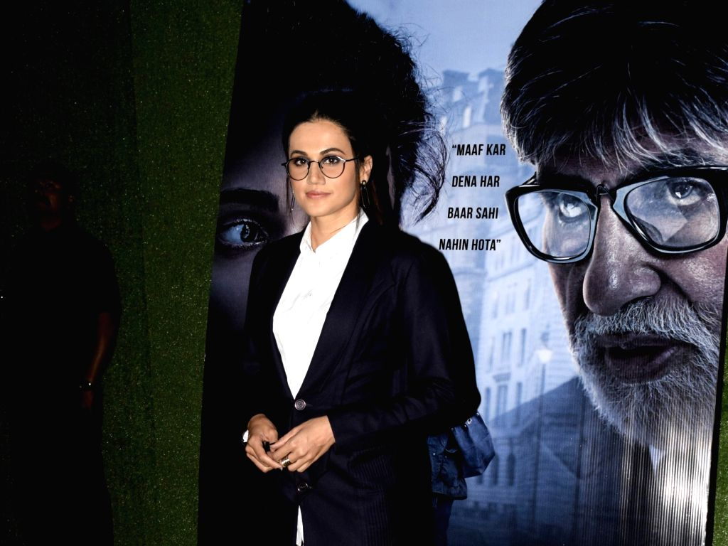 """Mumbai: Actress Tapsee Pannu during a programme organsied to promote her upcoming film """"Badla"""" in Mumbai on March 1, 2019. (Photo: IANS) - Tapsee Pannu"""