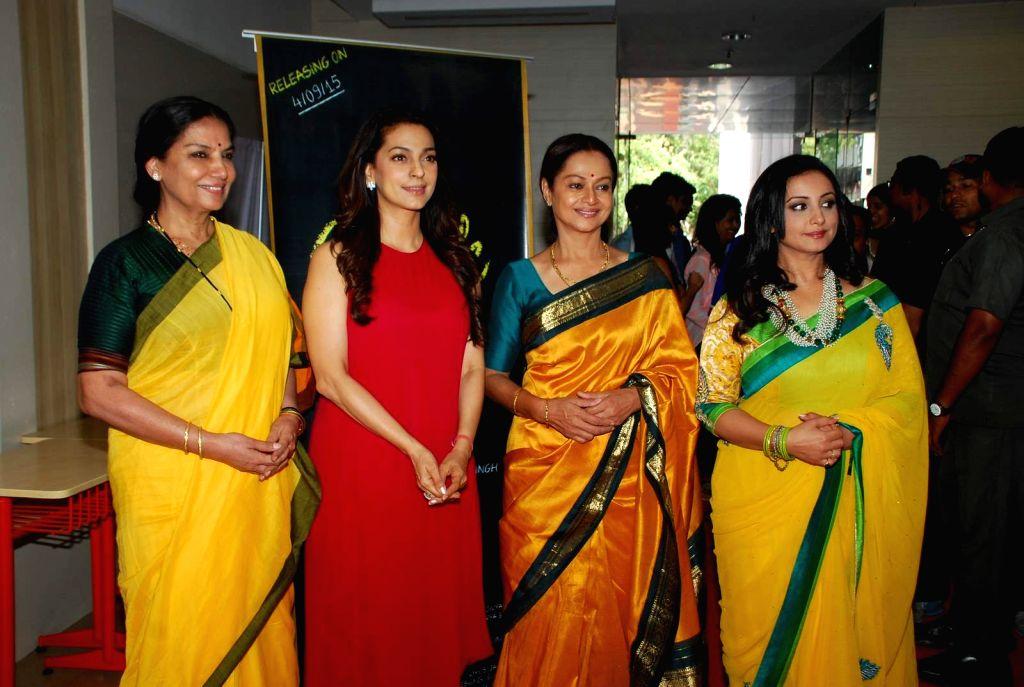 Actresses Shabana Azmi, Juhi Chawla, Zarina Wahab and Divya Dutta during the Mahurat and on location of film Chalk and Duster, in Mumbai on April 12th, 2015. - Shabana Azmi, Juhi Chawla, Zarina Wahab and Divya Dutta
