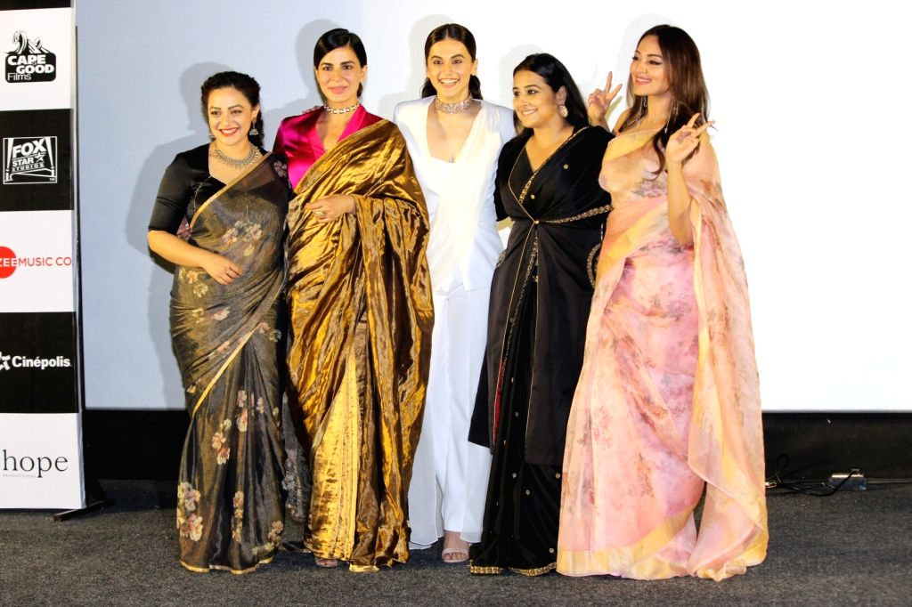 "Mumbai: Actresses Taapsee Pannu, Sonakshi Sinha, Kirti Kulhari, Vidya Balan and Nithya Menon at the trailer launch of their upcoming film ""Mission Mangal"" in Mumbai, on July 18, 2019. (Photo: IANS) - Taapsee Pannu, Sonakshi Sinha, Kirti Kulhari, Vidya Balan and Nithya Menon"