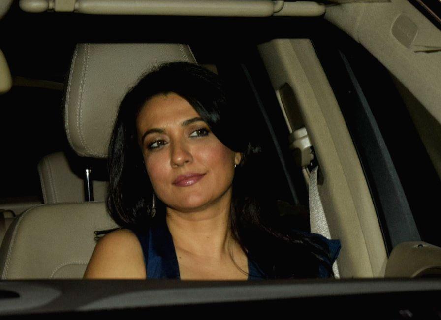 "Mumbai: ActressMini Mathur arrives to attend the special screening of film ""LoveYatri"" in Mumbai on Oct 4, 2018. (Photo: IANS)"