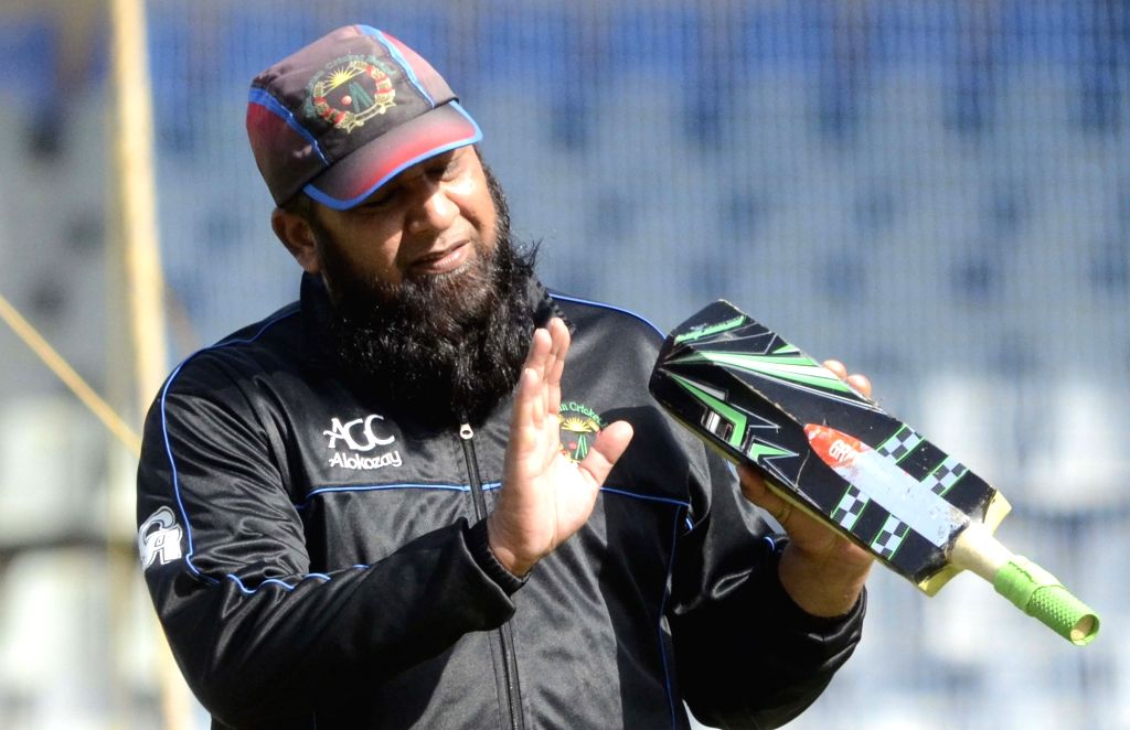 Mumbai: Afghanistan coach Inzamam-ul-Haq during a practice session at Wankhede Stadium in Mumbai on March 19, 2016. (Photo: IANS)
