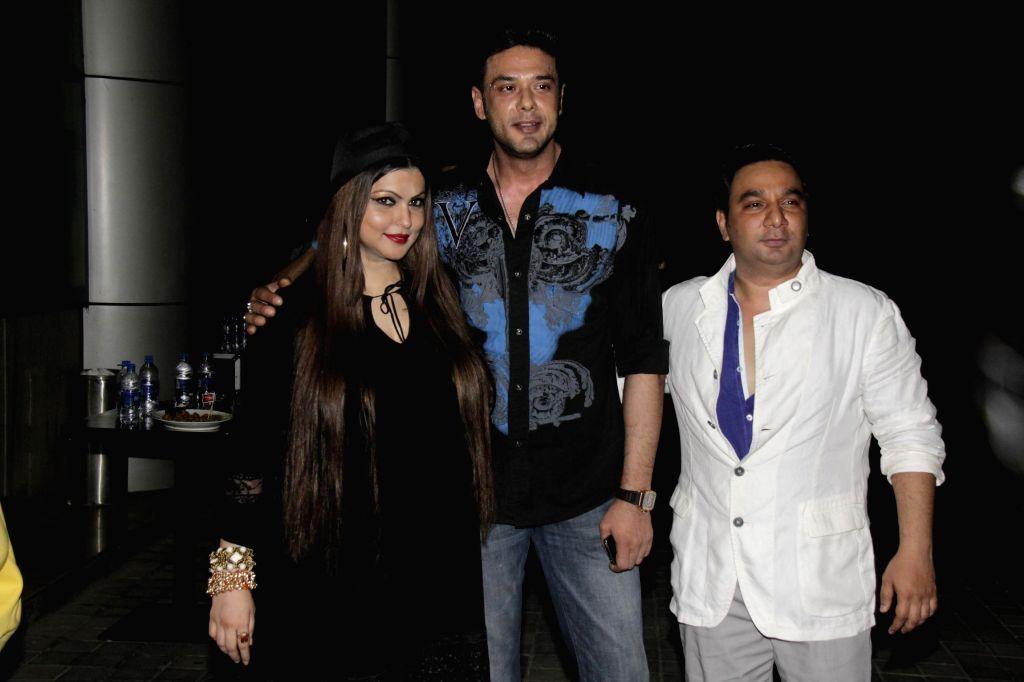 Ahmed Khan and his wife Shahira Khan, Mohit Ahlawat during Ahmed Khan and Shahira Khan's wedding anniversary party in Mumbai on 7th, Feb. 2015.