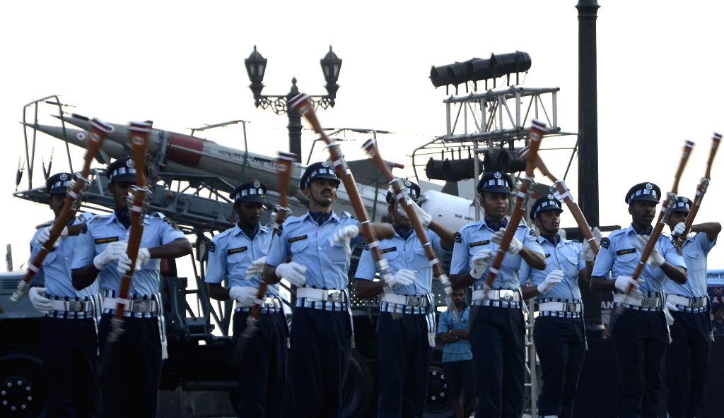 Air Warriors of Indian Air Force demonstrate their skills during an air show organised by the Maharashtra Tourism Development Corporation to commemorate the 50th year of 1965 war at the ...