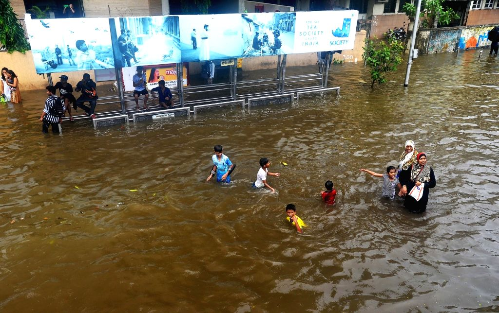 Mumbai: An inundated King's Circle after heavy rains in Mumbai, on July 1, 2019. (Photo: IANS)