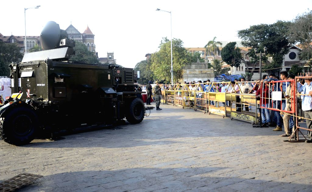 Army Day rehearsals underway at the Gateway of India in Mumbai, on Jan 13, 2015.