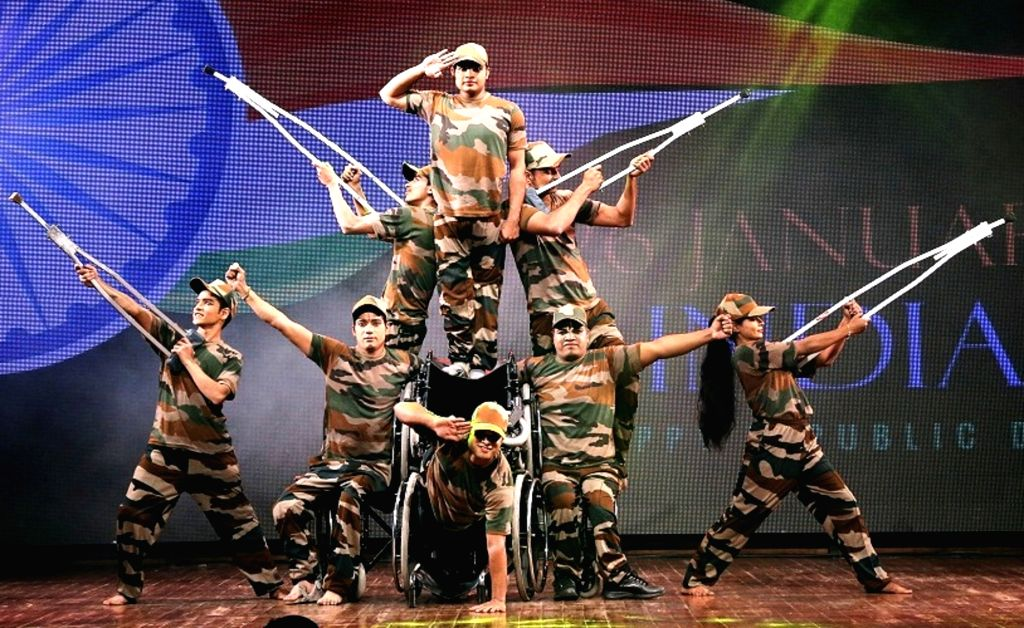 Mumbai: Army personnel who have suffered disabilities, perform during a programme organised to honour them as part of Republic Day celebration in Mumbai on Jan 27, 2018. The programme organised by Sri Shanmukhananda Fine Arts and Sangeetha Sabha (SSF