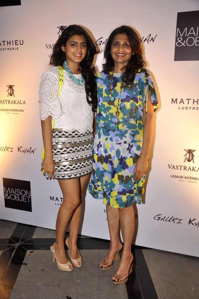 Ashika and Gauri Pohoomul during the launch of Gauri`s private workspace `Gauri Khan` at Bandra in Mumbai on, April 29, 2015.